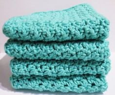 Wash Cloths Aqua Set of Four Handmade Crocheted Cotton | luvncrafts - Crochet on ArtFire
