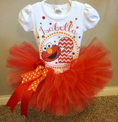 Elmo Birthday Outfit Tutu And Shirt By MiaMonroeBoutique Bday Girl 1st Girls