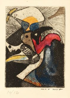 """amare-habeo: """"Max Ernst (German, 1891-1976) The Lotto of the Zoological Garden (La loterie du jardin zoologique), 1951 Etching and aquatint in colours """""""