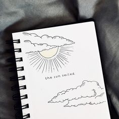Bullet journal quote page, sun and clouds drawing. | @divjournal