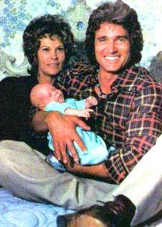 Michael Landon holding his new-born son: Christopher Beau, next to his wife Lynn Noe-Landon.