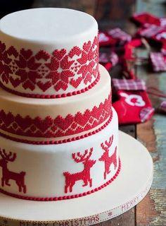 scandinavian folk art cake - unique Christmas or winter cake