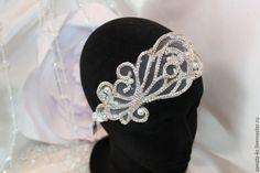 """Купить Свадебная повязка на голову """"Мечта"""" - белый, повязка на голову, повязка для волос, повязка на волосы"""