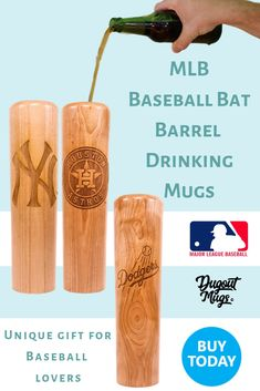 "The Dugout Mug® - a baseball bat mug. Drink from the barrel of a baseball bat with your favorite MLB team laser engraved on the wooden barrel. A ""cute"" gift that he will love."