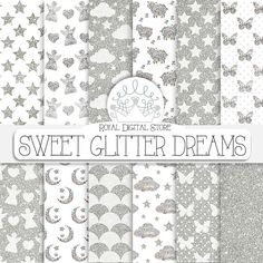 "Glitter Digital Paper: "" Sweet Glitter Dreams"" with silver glitter backgrounds, glitter patterns, glitter angels, baby patterns #printable #party"