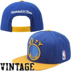Mitchell & Ness Golden State Warriors XL Logo Two Tone Snapback Hat - Royal Blue/Gold - $27.99