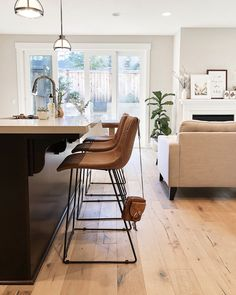 January Recap - Life, Style and Home — Girl Meets Gold Kitchen Chairs, Home Decor Kitchen, Bar Chairs, Kitchen Tips, Kitchen Ideas, Rustic Bedroom Design, Classic White Kitchen, Leather Bar Stools, Shop Interiors