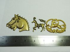 Horse Horses Pegasus Brass stamping cut out by DrBrassyVintage, $5.00
