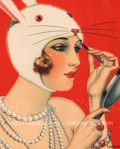 Gallery – The Makeup Looks of the 1920′s. 1920s-flapper applies eye makeup
