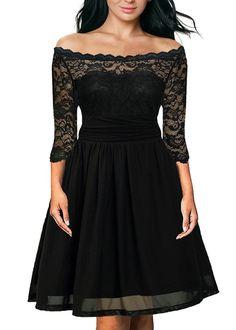 DILANNI Women's Plus Size Floral Lace Off-Shoulder Cocktail Party Tube Dress