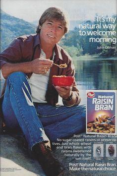 Collectibles 1980-89 Candid 1986 Post Natural Raisin Bran Cereal John Denver Photo Ad