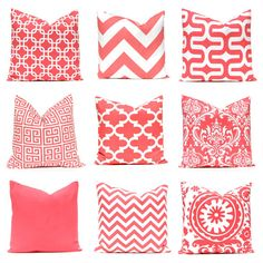 Coral Pillows Decorative Throw Pillow Covers Chevron Pillows 20 x 20 Inches Coral Chevron and More Collection