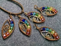 eye pendant with stones rainbow colors- Wire Wrapping stones 164 - YouTube