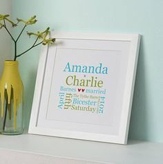 Personalised Wedding Typographic Print from notonthehighstreet.com