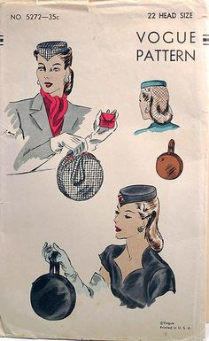 vintage sewing pattern pillbox hat and bags ~ evening wear Moda Vintage, Vintage Bags, Vintage Handbags, Vintage Ladies, Vintage Outfits, Vintage Woman, Hat Patterns To Sew, Vintage Dress Patterns, Vogue Sewing Patterns