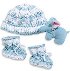 Crocheted Baby Hat and Booties Pattern