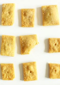 Easy Vegan Cheez Its   30 minutes, 8 ingredients, undetectable flavor difference, just like the real thing only vegan! http://minimalistbaker.com/vegan-cheez-its/