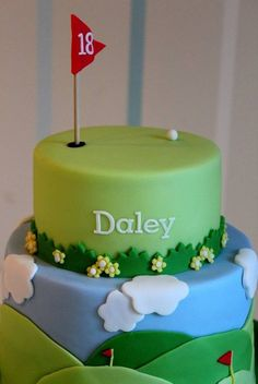 Golf Themed Cake For My Boyfriend Just to say as much as my boyfriend probably wishes he is still he is actually 29 and the top. Fondant Cakes, Cupcake Cakes, Bicycle Cake, Sports Themed Cakes, Sport Cakes, Gateaux Cake, Themed Cupcakes, Novelty Cakes, Piece Of Cakes