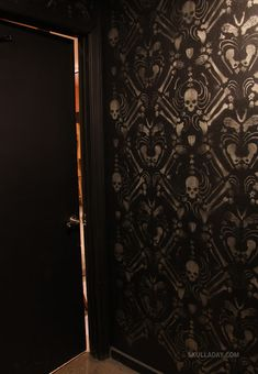 Skeleton Damask - created from a stencil. Kind of love it.