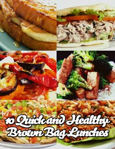 The Healthy Elvis  Tuna Pita Sandwich  Egg Plant Pizza  Taco Salad  Tofu Fry  Fuss-Free Frittata  Chicken Wraps  Salmon Burger  Shrimp and Edamame Stir Fry  Old School Lunch