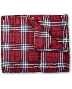 Oversized Plaid Down Throw Blanket   Eddie Bauer
