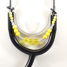 Women's Beaded Stethoscope Charm - Yellow with Silver Accents by DungleBees on Etsy