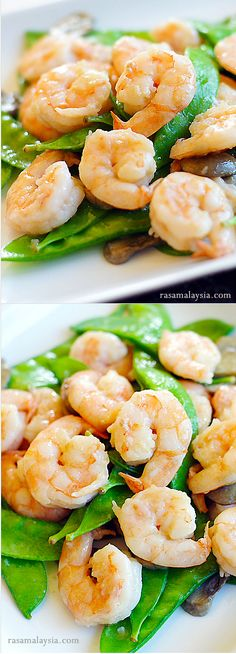 Shrimp with Snow Peas - healthy and fresh snow peas stir-fried with shrimp. Easy recipe that packs lots of flavors | rasamalaysia.com