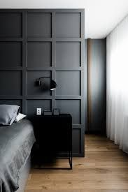 bedroom wainscoting ideas - Google Search Black Bedroom Design, Gray Bedroom, Trendy Bedroom, Bedroom Wall, Contemporary Bedroom, Modern Bedroom, Contemporary Style, Warehouse Living, Bedroom Closet Doors
