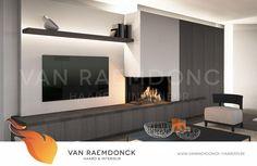 lareira de canto moderno com televisão - Van Raemdonck - Lareira Interior