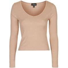 TopShop Tall Long Sleeved v-Neck Top ($11) ❤ liked on Polyvore featuring tops, long sleeve tops, soft pink, pink top, topshop tops, v neck long sleeve top and tall tops
