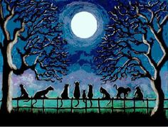 Halloween  Cross Stitch Pattern PDF HARD TO BELIEVE THIS IS CROSS STITCH NOT A PAINTING. COOL CATS