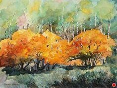 Birch Splendor  (Unframed) by Lynn Rank Henry Watercolor ~ 18 x 24 SOLD