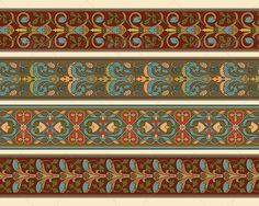 Set of Four Decorative Borders Ornamental