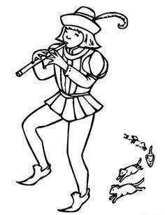 Flautista - Dibujos para pintar