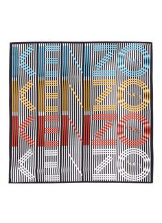 Enhance your street edits with this bold and vibrant scarf from KENZO. Crafted from silk twill, this piece is printed with a monochrome stri Font Art, Scarf Design, Stencil Art, Logo Color, Kenzo, Graphic Prints, Womens Scarves, Silk, Wall Units