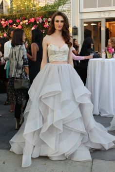 Two piece wedding dress by Hayley Paige / http://www.deerpearlflowers.com/two-piece-wedding-dresses/2/