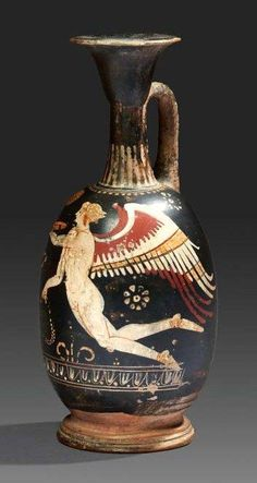 Gnathian black glazed terracotta lekytos depicting Eros. Magna Graecia, 4th-3rd century B.C.