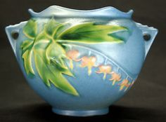 Vintage Art Deco Era Roseville Pottery 651-3 Blue BLEEDING HEART Jardiniere Vase Planter No Cracks Or Chips!