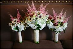 pink and white wedding bouquets by Blooming Flowers and Gifts