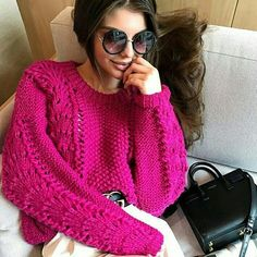 Hot pink cable pullover