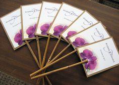 Hawaiian Tropical Purple Orchid Beach Wedding Program Fan Natural Bamboo Stick Handle - Custom listing for via Etsy Beach Wedding Programs, Wedding Program Fans, Wedding Fans, Sister Wedding, Wedding Trends, Wedding Ideas, Fan Programs, Wedding Stuff, Destination Wedding
