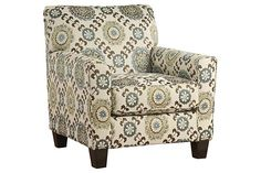 Accent Chairs - Rooms To Go - Pennington Blue Medallion Accent Chair - 10531146 Ashley Furniture, Chair And Ottoman, Affordable Chair, Furniture, Ashley Furniture Homestore, Brown And Blue Living Room, Leather Sofa, Accent Chairs, Brown Sofa Living Room