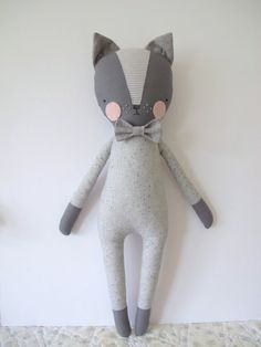 luckyjuju kitty boy cat lovie doll by luckyjuju on Etsy Softies, Muñeca Diy, Fox Stuffed Animal, Fabric Toys, Cat Doll, Cat Crafts, Sewing Toys, Diy Toys, Stuffed Toys Patterns