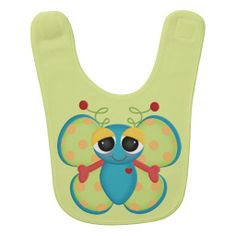 Beautiful Retro Butterfly Custom Baby Bib