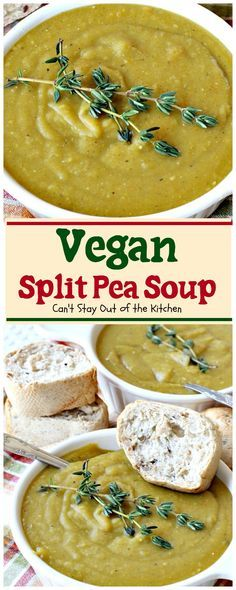 BEST split pea soup recipe and its healthy! Loaded with split peas onions potatoes carrots celery and wonderful seasonings. Soup Recipes, Whole Food Recipes, Vegetarian Recipes, Cooking Recipes, Healthy Recipes, Chili Recipes, Drink Recipes, Fall Recipes, Healthy Meals