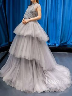 Grey Ball Gowns with Tiered Skirt Beaded Long Prom Dresses FD1286 – Viniodress