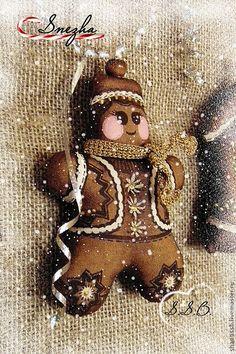 Купить Пряничные игрушки на елку - коричневый, Ароматизированные игрушки, кофейная игрушка, корица, ваниль