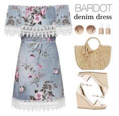 """Bardot denim dress"" by anja-jovanovich ❤ liked on Polyvore featuring WearAll, Valentino, Chloé, Buji Baja and Essie"