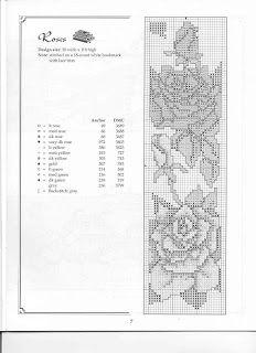 Cross-stitch Roses Bookmark... Marcador de libros en punto de cruz   Punto de cruz