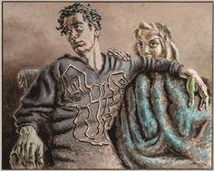 Alberto Savinio (1891-1952), Orfeo e Euridice, 1951, tempera su cartone  | Firenze, Galleria d'arte moderna di Palazzo Pitti